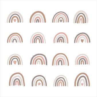 Hand gezeichneter regenbogensatz. skandinavischer minimalismus-stil.