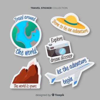 Hand gezeichneter Reiseaufklebersatz