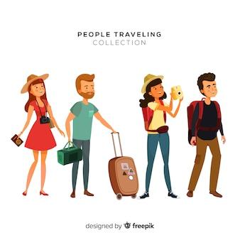 Hand gezeichneter Reisender eingestellt