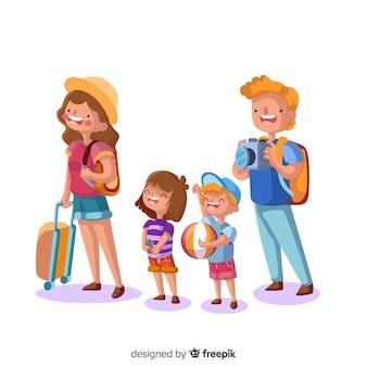 Hand gezeichneter reisender hintergrund der glücklichen familie