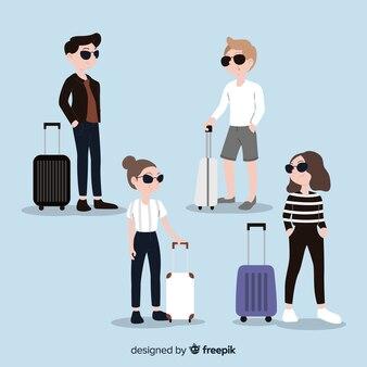 Hand gezeichneter reisender mit der sonnenbrille eingestellt