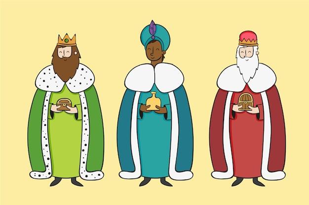 Hand gezeichneter reyes magos tag