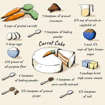 Hand gezeichneter rezeptkarottenkuchen