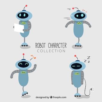 Hand gezeichneter robotercharakter mit unterschiedlicher haltungssammlung