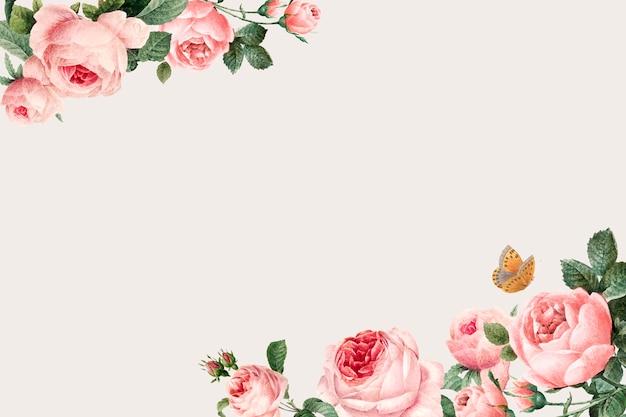 Hand gezeichneter rosa rosenrahmen auf beige hintergrundvektor