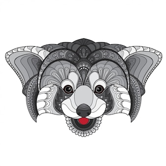 Hand gezeichneter roter panda illustrationsvektor des gekritzel zentangle