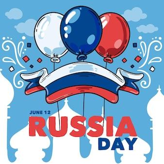 Hand gezeichneter russischer tageshintergrund mit luftballons