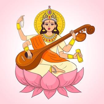 Hand gezeichneter saraswati, der auf einem musikinstrument spielt