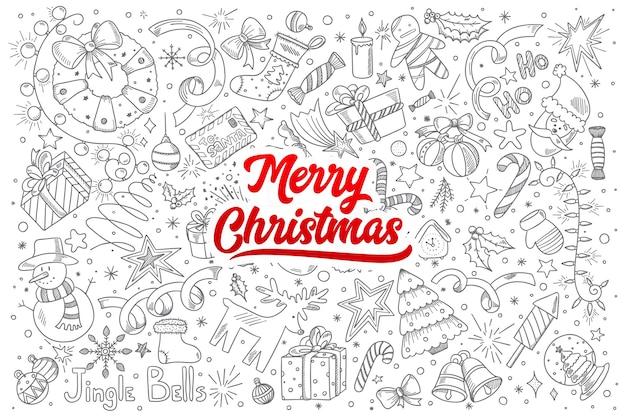 Hand gezeichneter satz der frohen weihnachtskritzeleien mit roter beschriftung