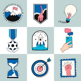 Hand gezeichneter satz der ideen- und geschäftssymbolillustration