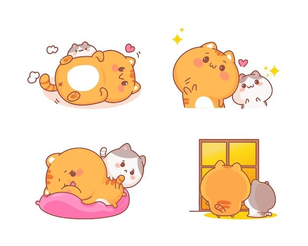 Hand gezeichneter satz der niedlichen katzen verschiedene gestenkarikaturillustration