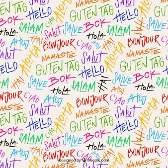Hand gezeichneter satz hallo wortmusters in den verschiedenen sprachen