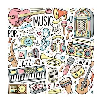 Hand gezeichneter satz musik in gekritzelfarbe