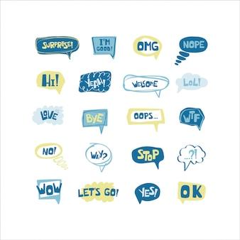 Hand gezeichneter satz spracheblasen mit handgeschriebenen kurzen phrasen