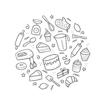 Hand gezeichneter satz von back- und kochelementen, mixer, kuchen, löffel, cupcake, skala. gekritzel-skizzenstil. backelement mit digitalem pinselstift gezeichnet. illustration für symbol, menü, rezeptdesign.