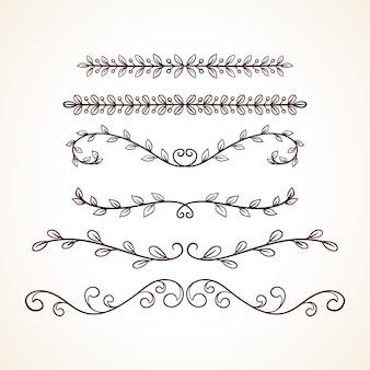 Hand gezeichneter satz von dekorativen rahmen begrenzt seitendekorationselemente