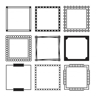 Hand gezeichneter satz von einfachen schwarzen quadraten rahmen und rand mit verschiedenen formen.