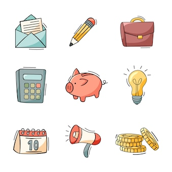 Hand gezeichneter satz von geschäfts- und finanzikonen im gekritzelstil