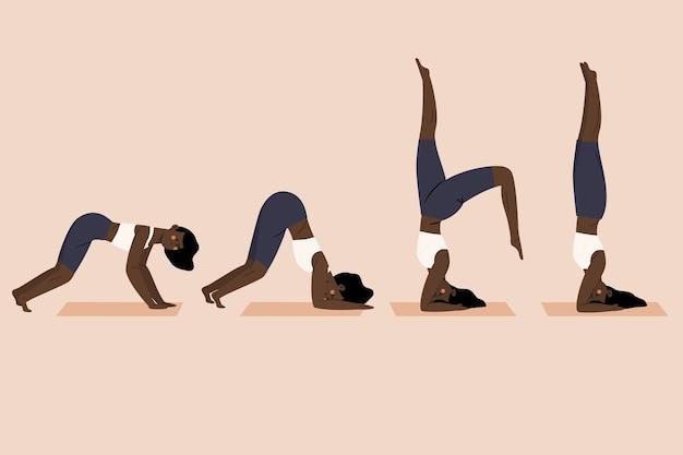 Hand gezeichneter satz von leuten, die yoga tun