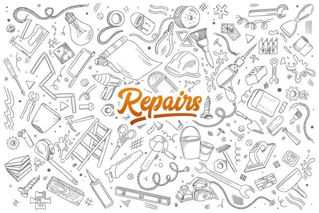 Hand gezeichneter satz von reparaturinstrumenten kritzelt mit beschriftung