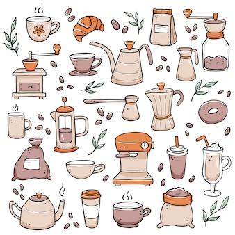 Hand gezeichneter satz von verschiedenen arten kaffeetasse, tasse, kanne, kaffeemaschine. gekritzel-skizzenstil.