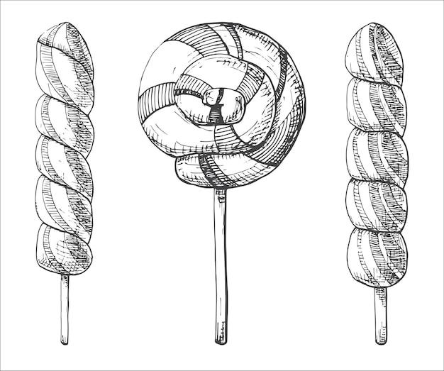 Hand gezeichneter satz von verschiedenen lutschern. illustration eines skizzenstils.