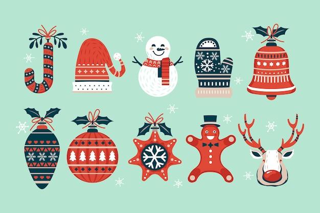 Hand gezeichneter satz von weihnachtselementen
