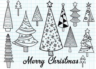 Hand gezeichneter Satz Weihnachtsbäume. Feiertage Hintergrund. Abstraktes Gekritzelzeichnungsholz
