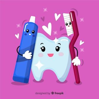 Hand gezeichneter sauberer zahn mit zahnbürste und zahnpasta