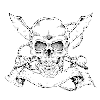 Hand gezeichneter schädel mit fahne im exquisiten stil