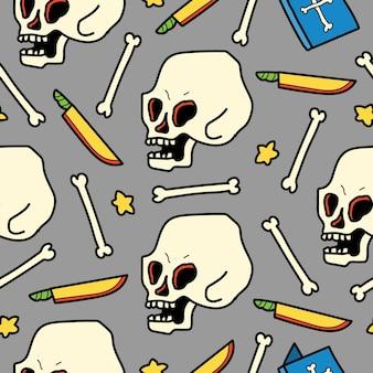 Hand gezeichneter schädelgekritzelkarikaturmusterentwurf