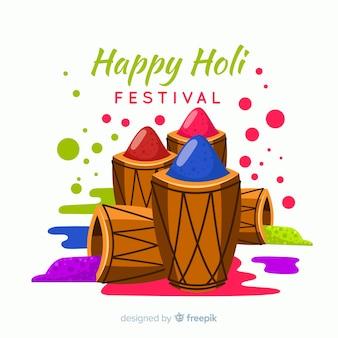Hand gezeichneter schlagzeug holi festivalhintergrund