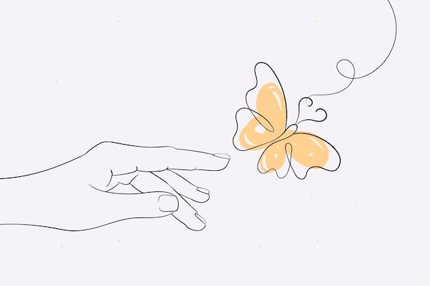 Hand gezeichneter schmetterlingsentwurfshintergrund