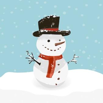 Hand gezeichneter schneemann an einem schneebedeckten tag