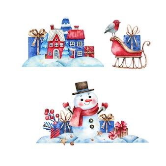 Hand gezeichneter schneeszenenfahnensatz