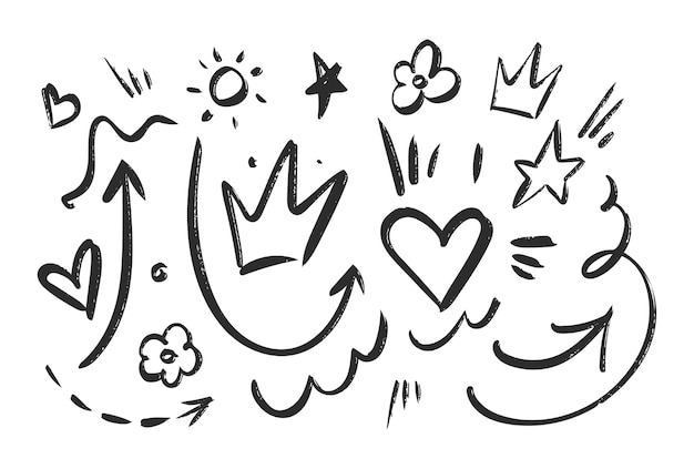 Hand gezeichneter schwarzer skizzenelementsatz