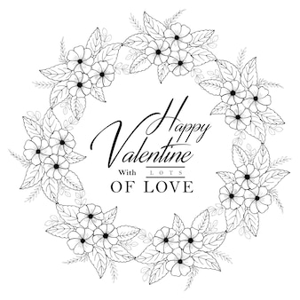 Hand gezeichneter schwarzweiss - valentinsgruß-blumenkranz