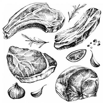 Hand gezeichneter skizzenfleischsatz. ausführliche tintennahrungsmittelabbildung. steakfleisch-handzeichnung mit pfeffer und rosmarin, zitrone, knoblauch.