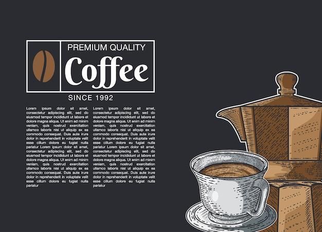Hand gezeichneter skizzenillustrationskaffee für sie design