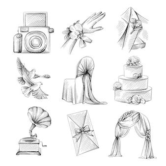 Hand gezeichneter skizzensatz des hochzeitsthemas. boutonniere im anzug, vorhangbogen, antikes grammophon, dreistufiger kuchen, dekorierter stuhl, boutonniere zur hand, einladung zur hochzeit, zwei tauben, polaroidkamera
