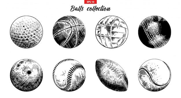Hand gezeichneter skizzensatz sportbälle