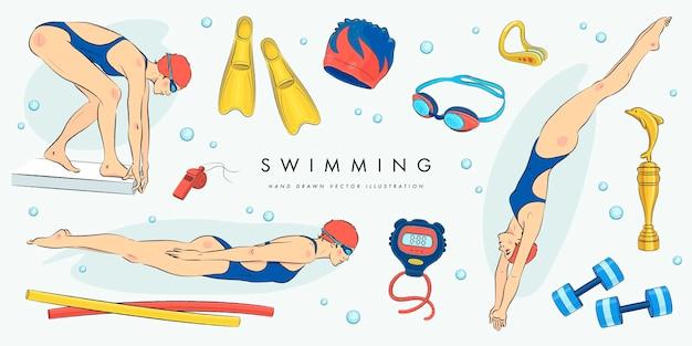 Hand gezeichneter skizzenschwimmbadsatz