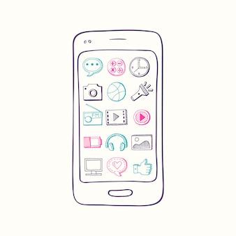 Hand gezeichneter smartphone