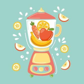 Hand gezeichneter smoothie im mixerglas