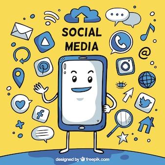 Hand gezeichneter social media-hintergrund