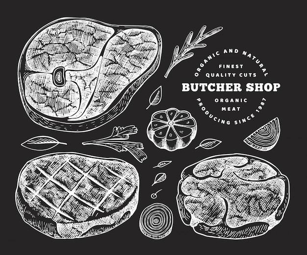 Hand gezeichneter steaksatz, -gewürze und -kräuter.