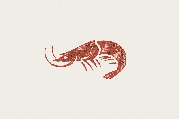 Hand gezeichneter stempeleffekt der garnelensilhouette