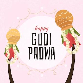 Hand gezeichneter stil für gudi padwa festival