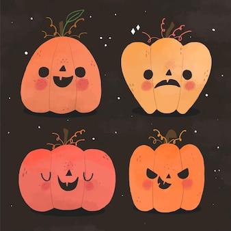 Hand gezeichneter stil halloween-kürbissatz
