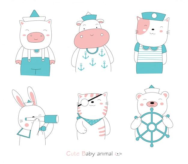 Hand gezeichneter stil. karikatur skizzieren die niedlichen haltungstierbabys, die einen matrosenanzug tragen